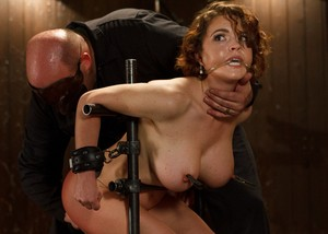 Masked bald master tortures big-boobied Krissy Lynn with different devices