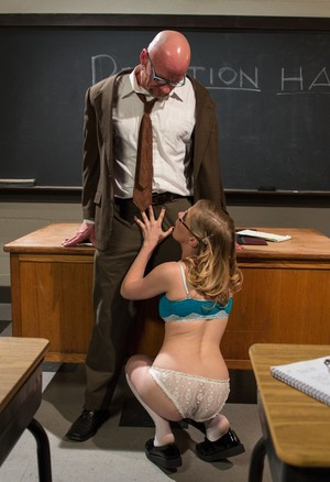 Blonde schoolgirl gags her teacher before giving him a special treat