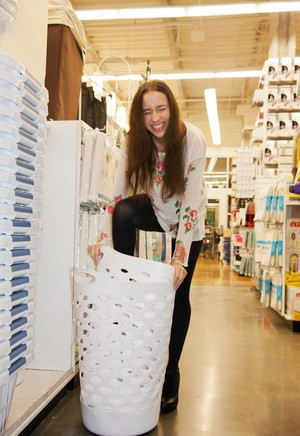Naughty skinny chick Belle Knox flashes tits and ass in the local store