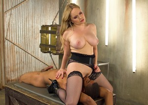 Busty blonde Dominatrix Aiden Starr face sits her male sub in stiletto heels