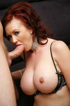 Busty redhead Felony Foreplay rides on top before going pussy to mouth