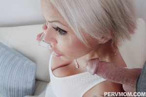 Platinum blonde chick blows her stepson while on phone with hubby
