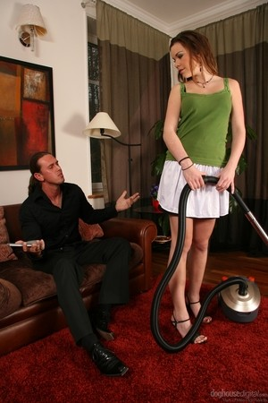 Petite maid Perry Yasmine sports a creampie after fucking the man of the house