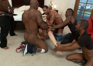 Bobbi Starr tries to run away from black guy but they catch and fuck her