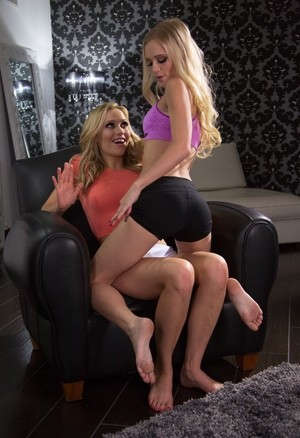 Blonde girls Mia Malkova and Alex Grey hump clothed before eating pussy