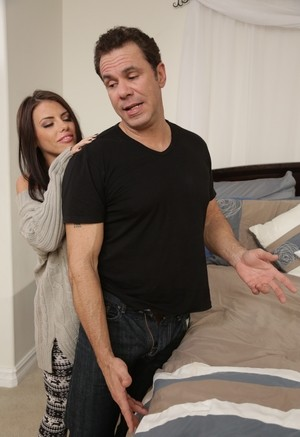 Brunette female Adriana Chechik seduces her stepbrother with a kiss