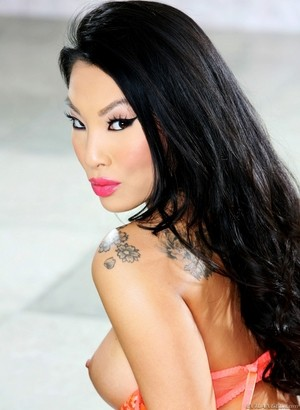Asian pornstar Asa Akira in orange lingerie welcomes BBC inside asshole