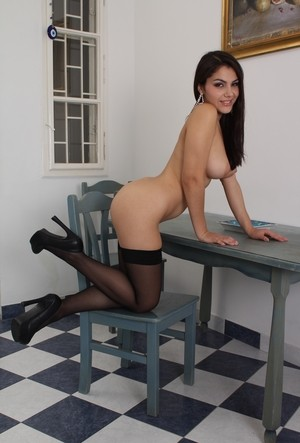 Brunette chick Valentina Nappi goes ass to mouth in black stockings and heels