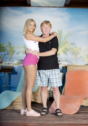 Old guy gives slender blonde Aria Logan good dicking by poolside