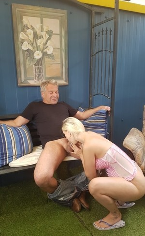 Teen blonde with natural tits cheats on boyfriend with much older man