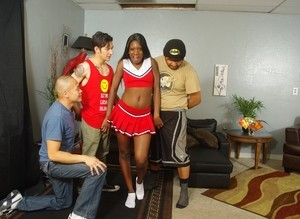 Dirty-minded Ebony cheerleader Kay Love tries interracial foursome