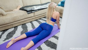 Blonde lady seduces and sucks off her stepson after he watches her do yoga