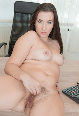 Office chick Jessica Patt takes off sweater and lingerie baring hairy cunt