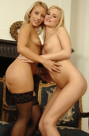 Blonde lesbians Adrienne and Nicole bring pink vibrator into play