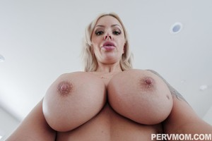 Staggering MILF Nina Elle is sure that stepson will be seduced by huge chest