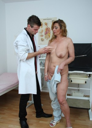 Older blonde with saggy tits gets banged to a creampie finale by gyno doc