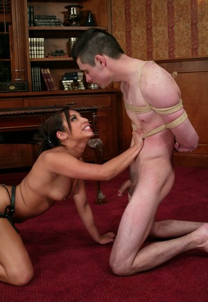 Slut with strapon Jasmine Byrny gags on penis of her tied up partner