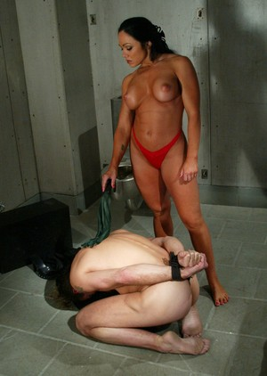 Busty brunette Cherokee whips man showing him whos the boss in cell