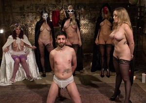 Poor guy dominated by busty blonde Bella Rossi during meeting of femdom club