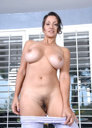 Busty MILF Persia Monir strips down to vibrate horny clit for yoga mat orgasm