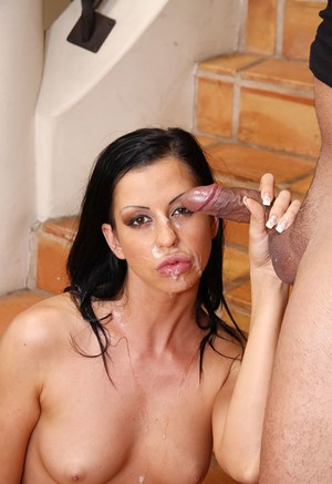 Dark haired girl Larissa Dee sucks the jizz from a dick with a blowjob