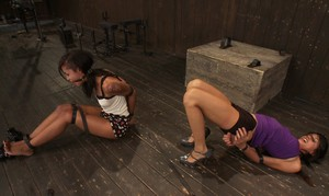 Abandoned females Skin Diamond and Lyla Storm chained up and compelled to cum