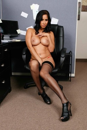 Brunette Latina milf with big tits Isis Love masturbates in her office