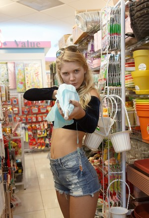 Blonde female Nola Barry steals food and misuses it for own sexual perversions