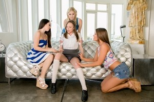 Schoolgirl Aubrey Star seduced simultaneously by three horny lesbians