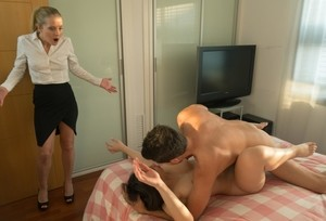 Beautiful young guest caught fucking hubby triggers steamy FFM threesome