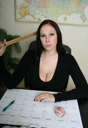 Stern principal Gianna Michaels lets her huge big tits free in her office