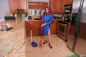 Obedient Indian maid Ada Sanchez gets on knees & spreads for boss's creampie