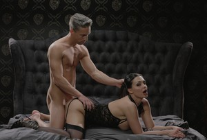 Elegant erotic Aletta Ocean dominates her male sub for hot ass licking