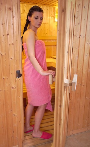 Dream-sex in the hot sauna with young brunette with shaved pussy Alice Nice