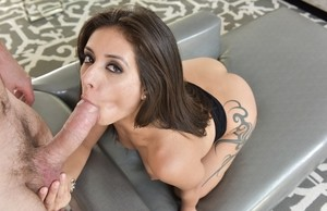 Sexy brunette Jynx Maze gets lovely bubble butt banged before catching a load
