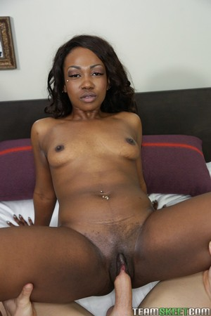 Ugly ebony Skyler Nicole gets black face covered in white cum after fucking