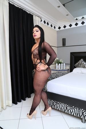 Black haired fatty Monica Santhiago spreads huge ass for anal fuck and cream