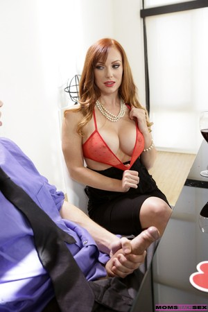 Gorgeous mature redhead catches stepson stroking and rides his hard cock