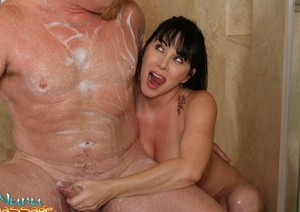 Busty brunette slut RayVeness from nuru-massage parlor gets it on with client