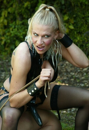 Nasty dommes take their male subs outside for rope bound CBT & humiliation