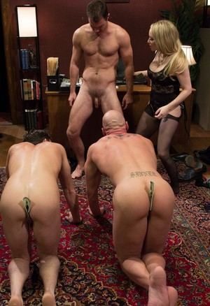 Harsh dominatrix pegs trio of male subs & takes cash for allowing foot worship