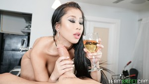 20-year-old Asian lady Jade Kush gives big-dicked guy blowjob after champagne