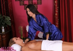Gorgeous Ella Milano and masseuse Nikki Daniels make love at the first meeting