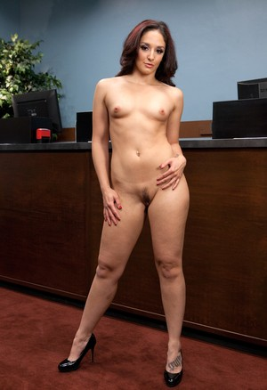 Sexy Bank Teller Sheena Ryder reveals sexy body while nobody is in the room