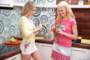 Cooking of the dinner becomes orgasmic for lesbians Angel Piaff and Delphine