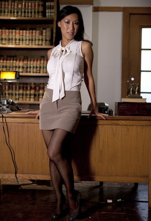 Mature Asian lawyer Tia Ling reveals her big enhanced boobs in office overtime