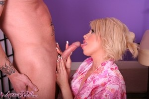 Sizzling blonde MILF Brooke Haven catches a load on her enhanced big tits