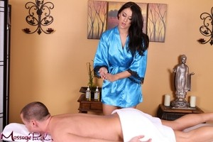 Raven haired masseuse Alexis Adams climbs on for sexy 69 blowjob service