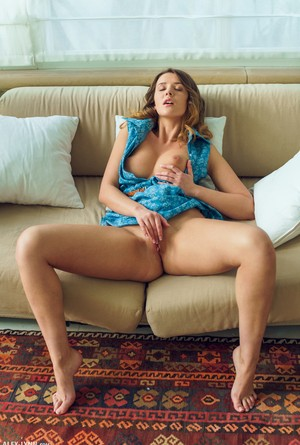 Cute big titted glamour girl Sybil removes panties  spreads wide in dress
