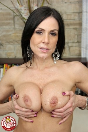 Sexy MILF Kendra Lust in sheer lingerie has big round tits jizzed with facial